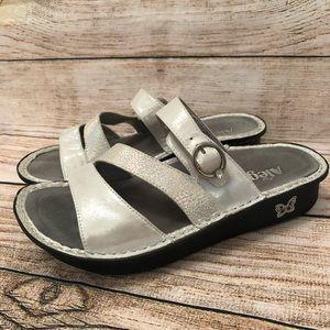 Alegria Leather Metallic Shimmer Sandals